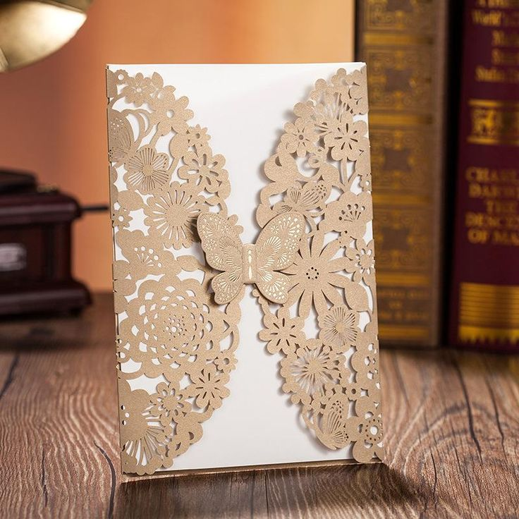 wedding invitation templates for muslim%0A Laser Cut  D Butterfly      Wedding Invitation Card Gold Flower Hollow  Party Invites Free Customized Print Text with envelope   seal CW