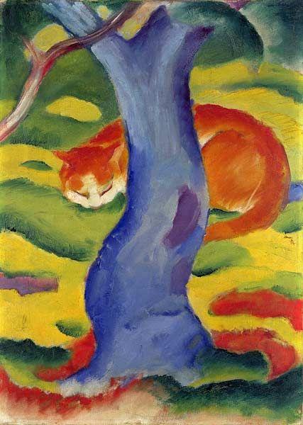 Franz Marc   (1880 - 1916)  Kunststil:  Expressionismus  Werk:  Katze hinter einem Baum.     (1910/1911)  Originalgröße:  50 x 70 cm  Technik  Öl Leinwand  Standort:  Hannover, Pelikan-Sammlung