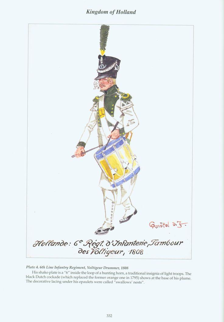 Kingdom of Holland: Plate 4. 6th Line Infantry Regiment, Voltigeur Drummer, 1808