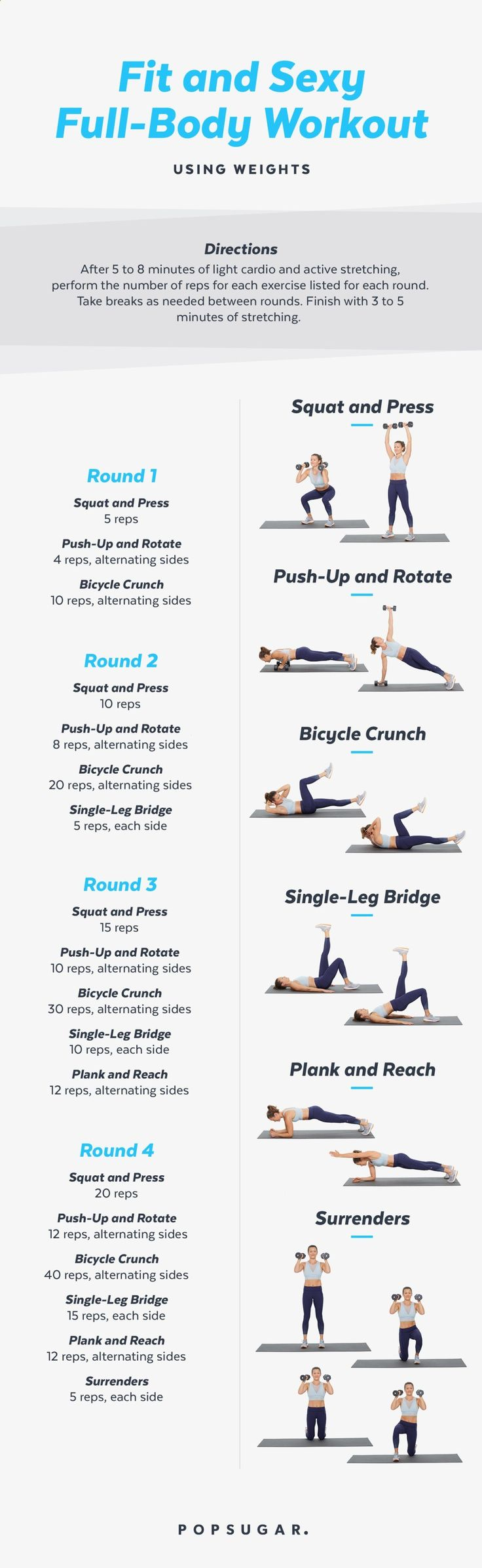 This full-body workout uses medium-weight dumbbells to build strength and muscle. We have a video too, if you want extra instruction on the moves or more motivation.
