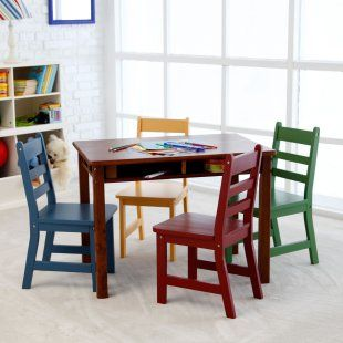 Includes 1 Walnut rectangular table and 4 colored chairs  Durable, natural beechwood and a protective coating  Under-table storage nook for books and toys  Table measures 33.25L x 21.75W x 24H inches  Chairs measure 14.5D x 13.75W x 25.5H inches  $215