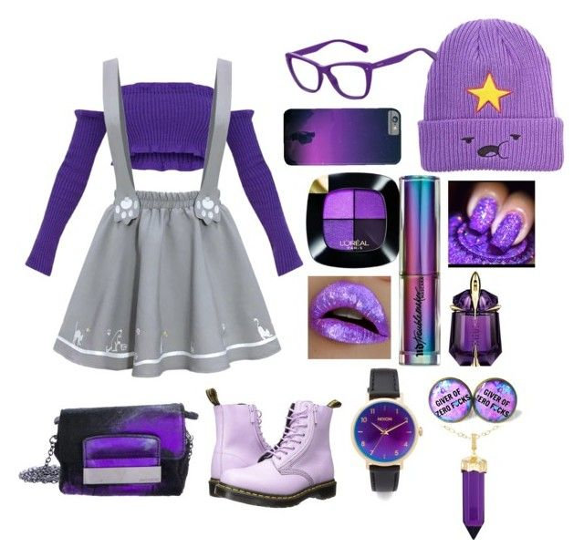 """""""If Lumpy Space Princess was a teen in 2018"""" by mimixai on Polyvore featuring Dr. Martens, L'Oréal Paris, Urban Decay, Thierry Mugler, Polaroid, Nixon, Simone I. Smith and Jimmy Choo"""