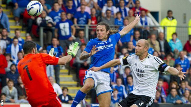 Stevie May's deft finish earned St Johnstone an aggregate 2-1 victory over Rosenborg at McDiarmid Park in the Europa League second qualifying round.