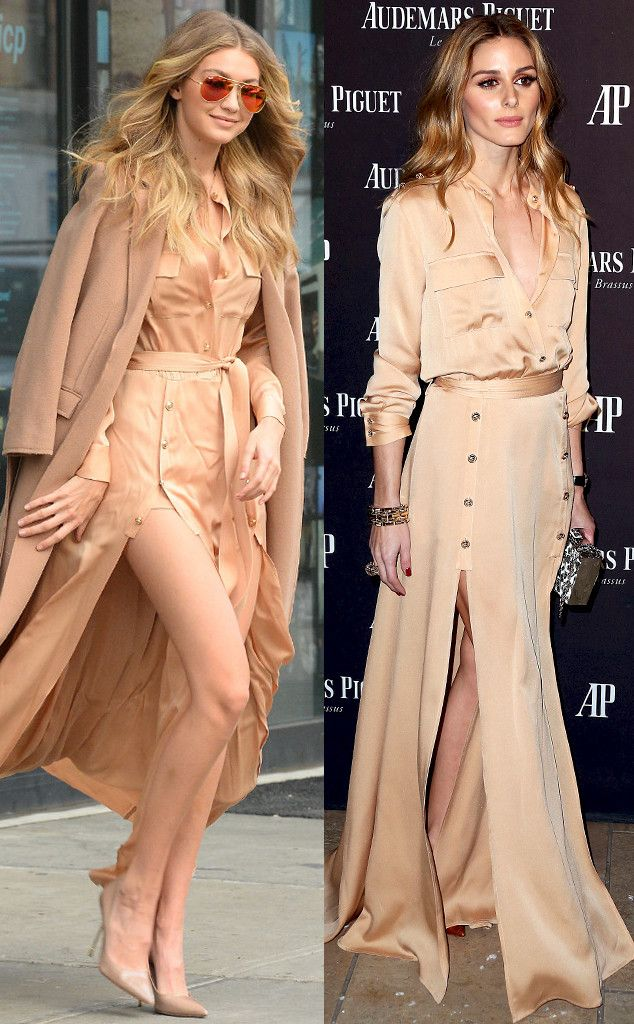 Welcome to Yahya Mubarak's blog: Bitch Stole My Look: Gigi Hadid vs. Olivia Palermo in a Nude Maxi Dress With Two Sexy Slits—Who Wore It Best?