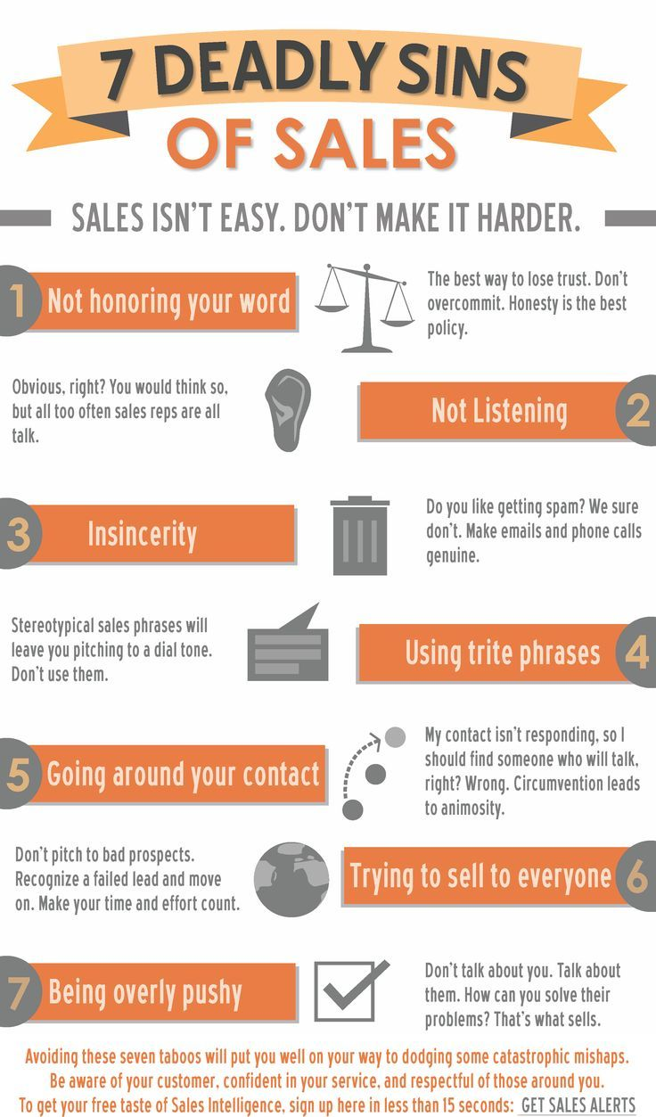 The 7 Deadly Sins of Sales [Infographic (With images
