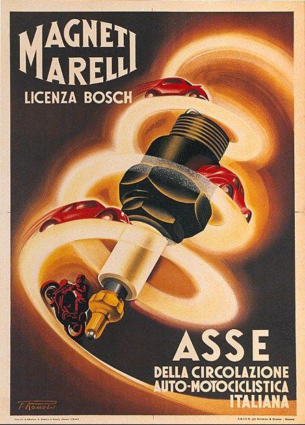 Magneti Marelli moto auto Manifesto pubblicitario originale #posters #vintage #italy www.posterimage.it