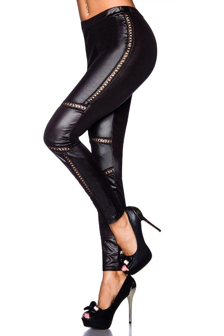 Sexy, ελαστικό μαύρο κολάν. - e-Dress