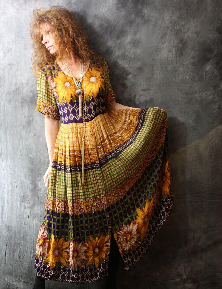 Vintage 80s Hippie India Gauzy Huge Sunflower Summer by MajikHorse, $50.00