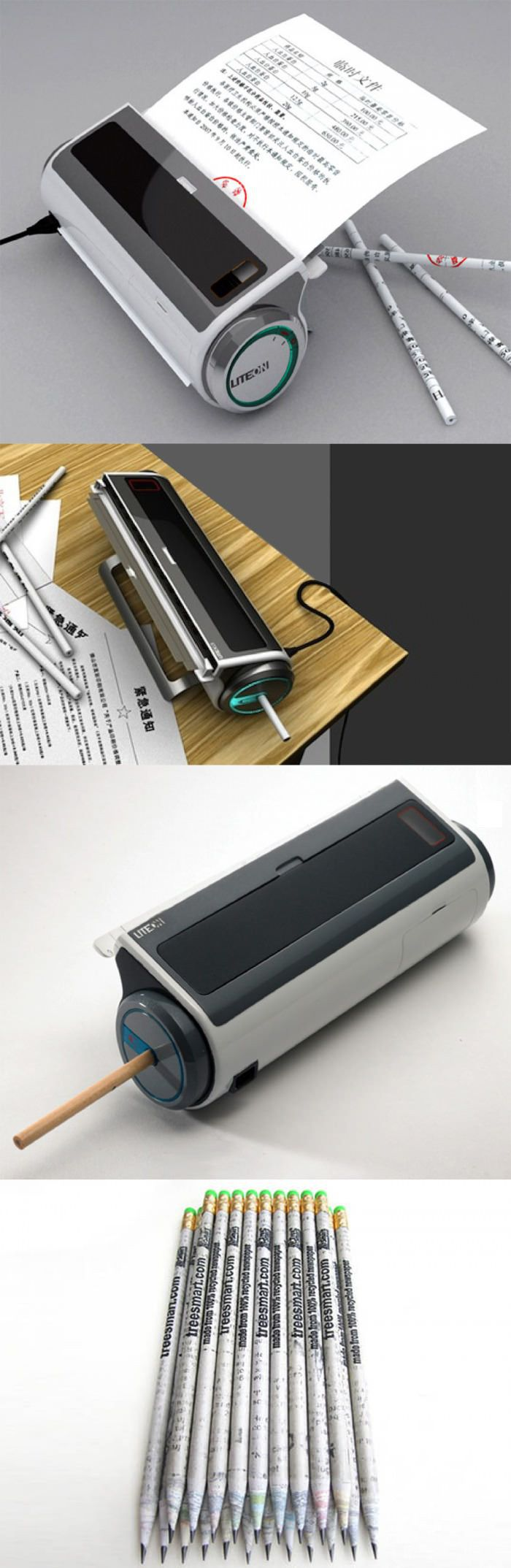 """Sometimes paper witch has been only printer several words on is thrown away as garbage in the office. This printer can make use of those papers to make scroll pencils for office use. You put the paper into the paper feed slot, it is automatically taken in and a complete pencil stick is """"printed"""" out."""