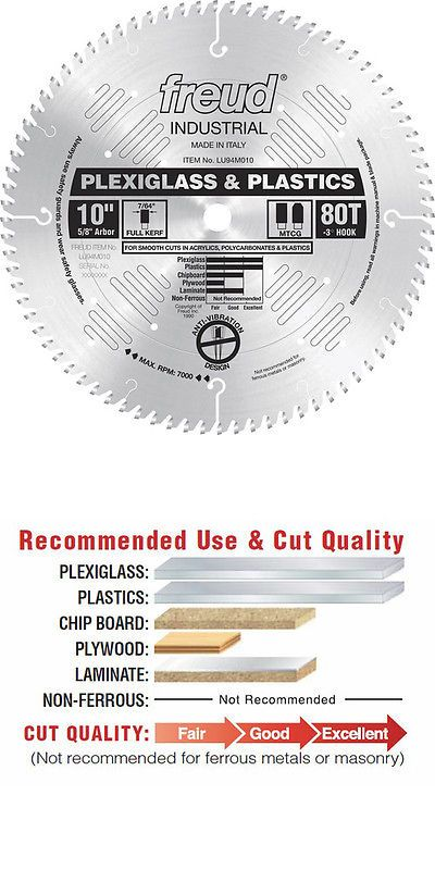 Other Power Saws and Blades 122838: Freud 10 80 Tooth Plexiglas Plastics Saw Blade Lu94m010 New -> BUY IT NOW ONLY: $86.46 on eBay!
