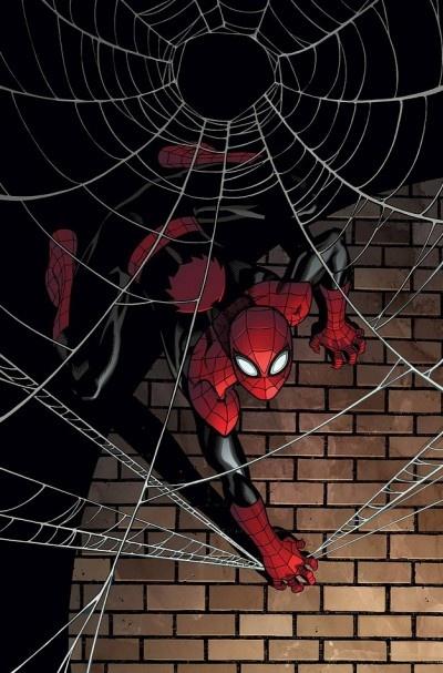 """Marvel mostra a capa de """"Superior Spider-Man 2""""   Em fevereiro sai esta edição que dá continuidade à mudança total e absurda, para alguns, na vida do Homem-Aranha. Veja a capa e note que a aranha nas costas é diferente. A cor preta no lugar do azul e o visor modificado já havíamos mostrado."""