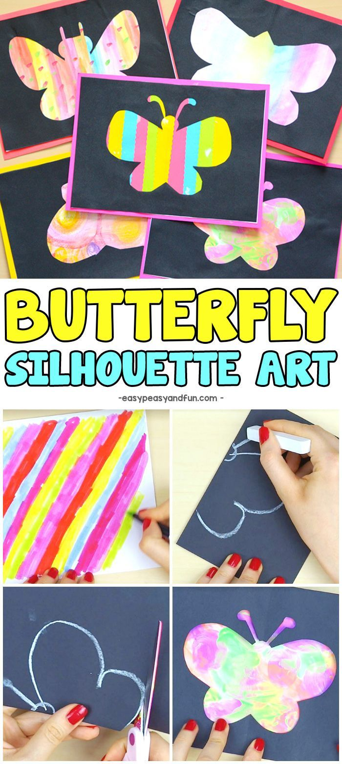 Butterfly Silhouette Art Super Fun Spring Craft Idea For Kids Craftsforkids Artideasfor Arts And Crafts For Teens Spring Art Projects Spring Crafts For Kids