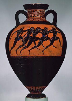Panathenaic amphora, ca. 530b.c.; Archaic  Attributed to the Euphiletos Painter  Greek, Attic  Terracotta