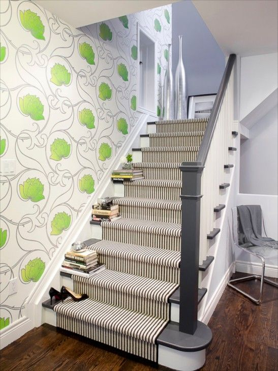 I like the use of wallpaper next to the stairs. Or maybe a wall mural.