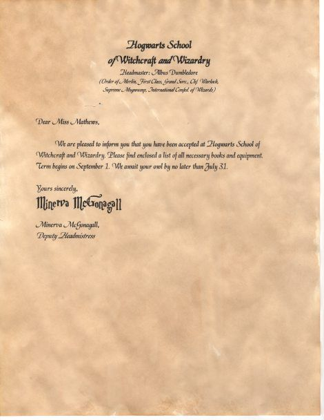 writing a letter to headmaster of hogwarts