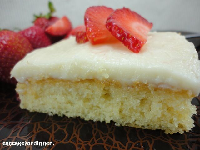 Grammy's White Sheet Cake.....  It is so tender and it melts in your mouth, it's buttery, it's extremely moist and it has a delicious rich frosting on top!