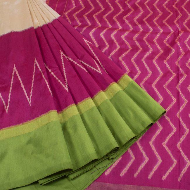 Sarveshi Handwoven Ikat Silk Saree With Ganga Jamuna Border 10007269 - profile - AVISHYA.COM