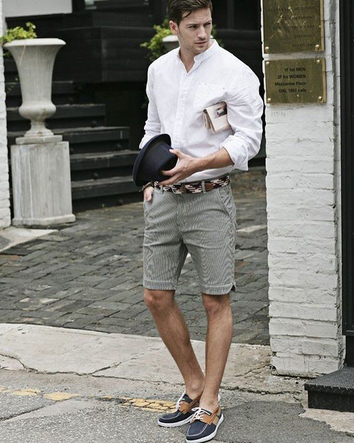 d9d70b86966 Summer outfit inspiration with boat shoes shorts white shirt and black  fedora  summerstyle  summeroutfits  menattire  menswear  mensfashion   menstyle