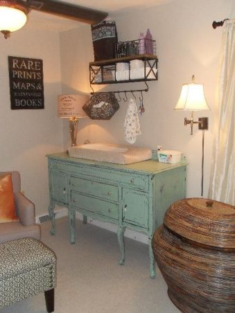 changing table from a console! maybe do an antique white or the moss green of his nursery theme???