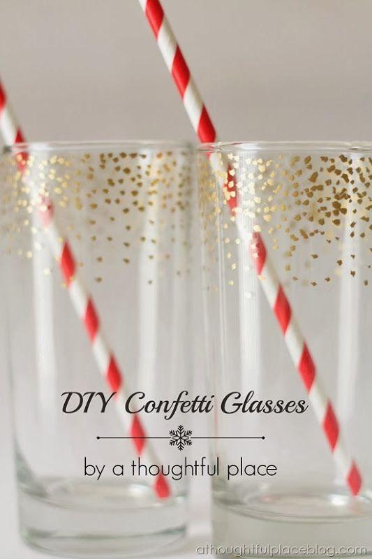 #DIY #Gold Confetti Dot Glass