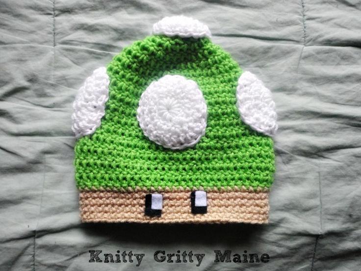 Free Crochet Pattern For Mario Hat : Nintendo Mario Mushroom Hat Cute Crochet Beanie ...
