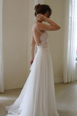 Not a huge fan of backless, but this is backless done right! Lace & chiffon wedding dress.