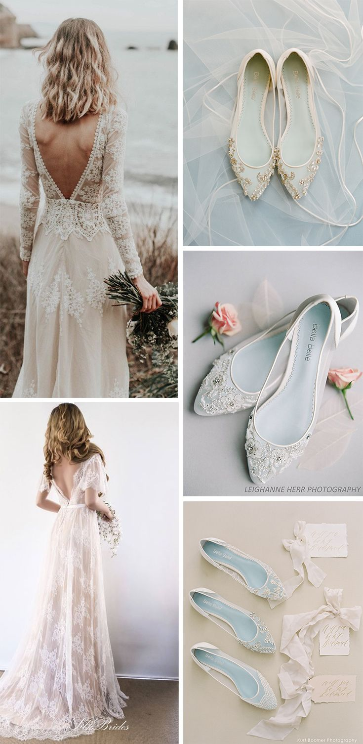 Handmade And Long Sleeve Boho Beach Wedding Dress With Bella Belle Comfortable Flats