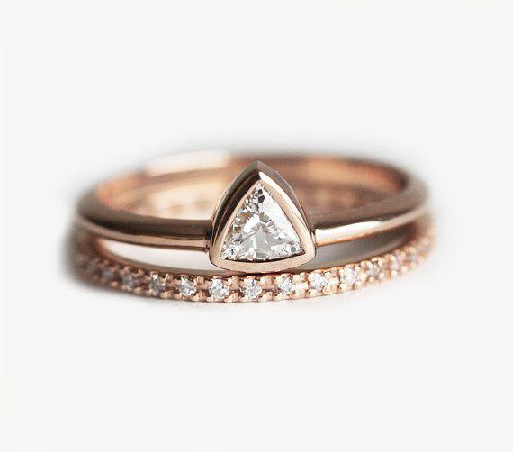 Wedding Set, Diamond Engagement Ring, Trillion Wedding Diamond Ring, Eternity Diamond Band, 18k solid gold