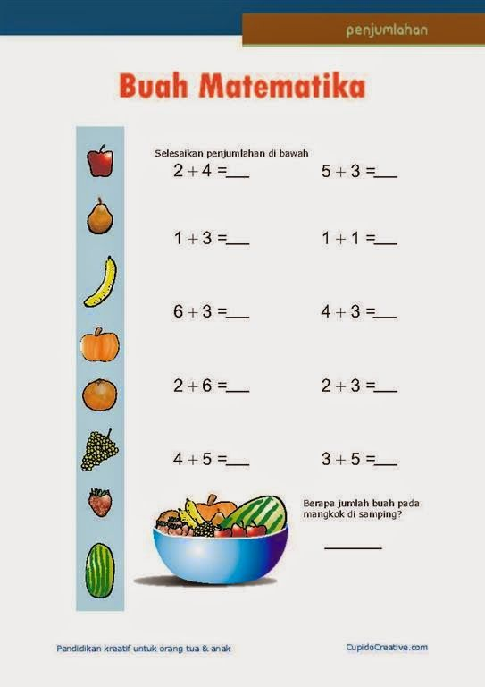 belajar anak kelas 1 SD, penjumlahan angka 1 sampai 10, salad