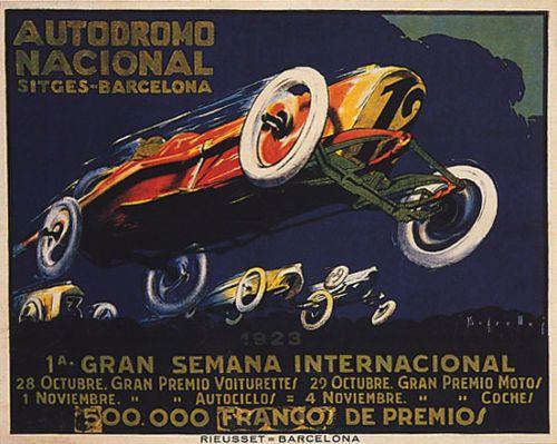 1923-AUTODROMO-NACIONAL-SITGES-BARCELONA-CAR-RACING-VINTAGE-POSTER-REPRO