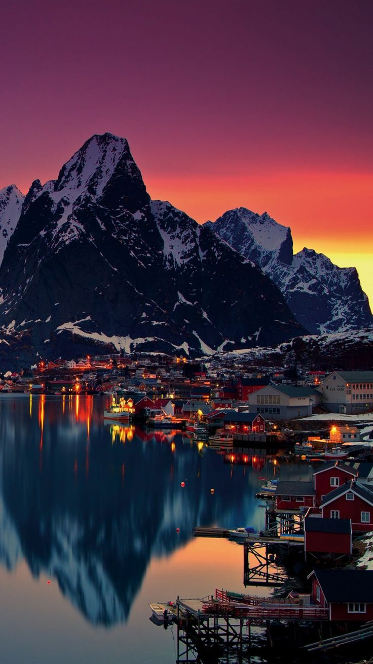 Lofoten Islands Norway Mountains Sunrise Lofoten Islands Norway Mountains Sunrise 4K Ultra HD Mobile Wallpaper.