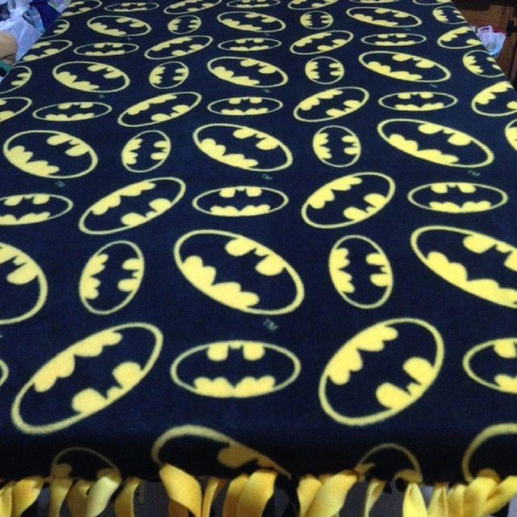 Fleece Knotted Tied Blanket - Batman - Handmade -Blanket #Handmade #Contemporary