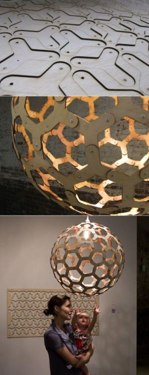 thedesignwalker:  Core77 / Andrew Thomson's Geodesic Pendant Lamp 2.0 and More: Pendants Lamps, Lasercut Lights, Cnc Projects, Lasercut Lamps, Pedant Lamps, Lamps 2 0, Lasercut Woods, Lampshades Ideas, Awesome Lampshades