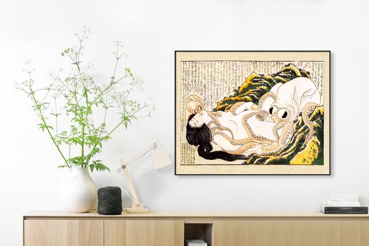 *Please note that the 16x20 and 20x30 prints require additional time and postage to process and ship due to the large size*  A wonderful antique illustration from the famous artist Katsushika Hokusai in the Edo period (1603 to 1868), depicting a large octopus performing an act of love upon a nude woman. The original illustration was professionally scanned and restored to create a gorgeous reproduction of this amazing Japanese artwork! You will receive one 8x10 print (on hand cut, high…