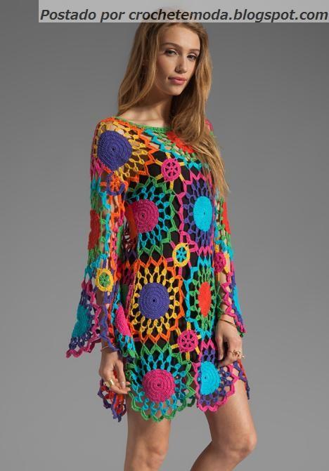 Gypsy crochet dress ♥LCPW-MRS♥ without diagram, but easy to make. Love it! ----- .Crochetemoda: Vestido de Crochet Colorido