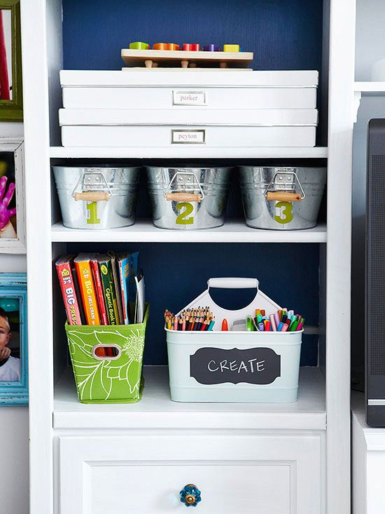 Putting labels on the outside of your storage makes it easy for your kids to keep their clutter organized! More organizing tips: http://www.bhg.com/decorating/storage/organization-basics/organized-home/?socsrc=bhgpin101113basketsandbinsgalore&page=10