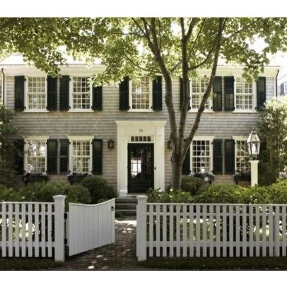 That S Our Color Scheme For The Exterior Gray House With Black Shutters White Trim We Need Different Color Doors Red Perhaps