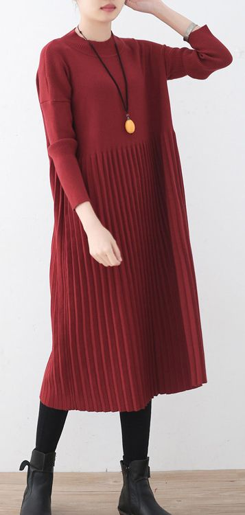 women red long sweaters oversized o neck sweater top quality wrinkled fall  dresses 51063ac93