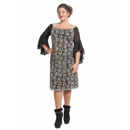 Φόρεμα midi animal με μουσελίνα μανίκια
