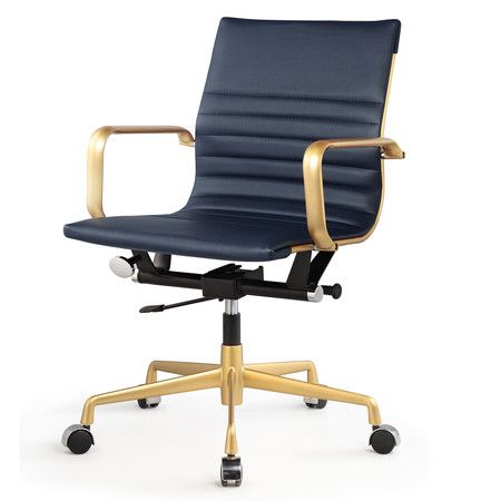 Gold + Navy Vegan Leather M348 Modern Office Chairs