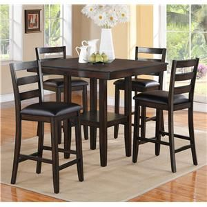 Crown Mark Tahoe 5 Piece Counter Height Table and Chairs Set - Miskelly Furniture - Pub Table and Stool Set