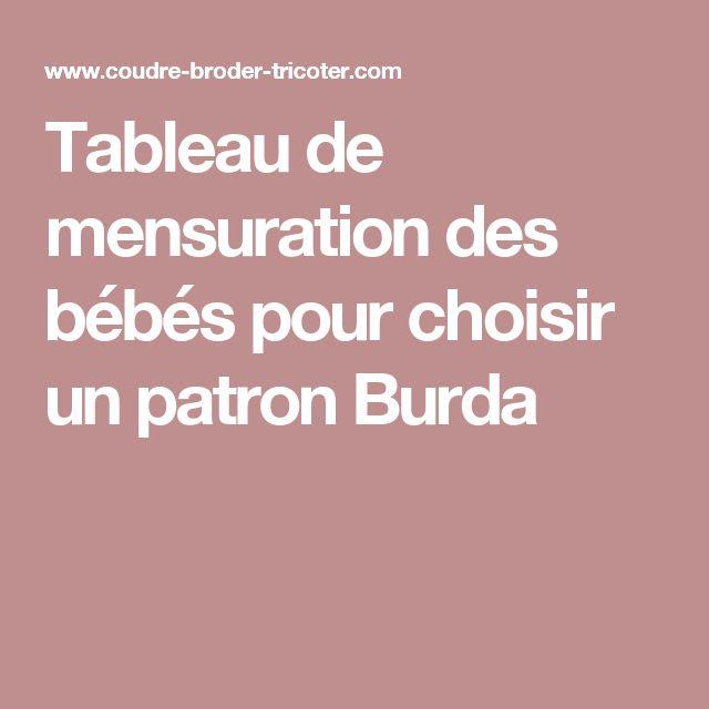 Tableau de mensuration des bébés pour choisir un patron Burda