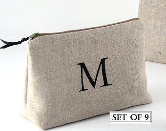 Set de maquillaje con monograma 9 bolsos, bolso cosmético de la Dama de honor, personalizada embrague de Dama de honor, 9 regalos de Dama de honor, bolso cosmético, bolso de novia