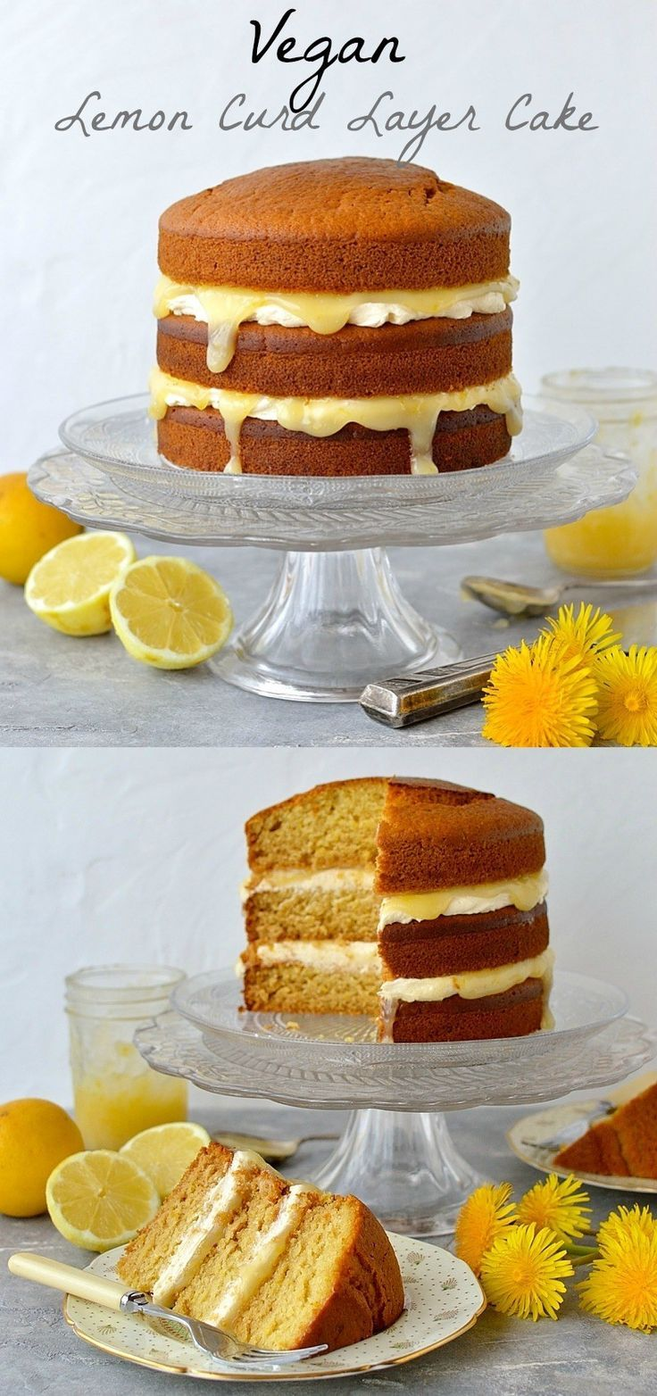 Vegan lemon curd layer cake - easy, fluffy vegan lemon cake with vegan lemon curd and vegan lemon buttercream.