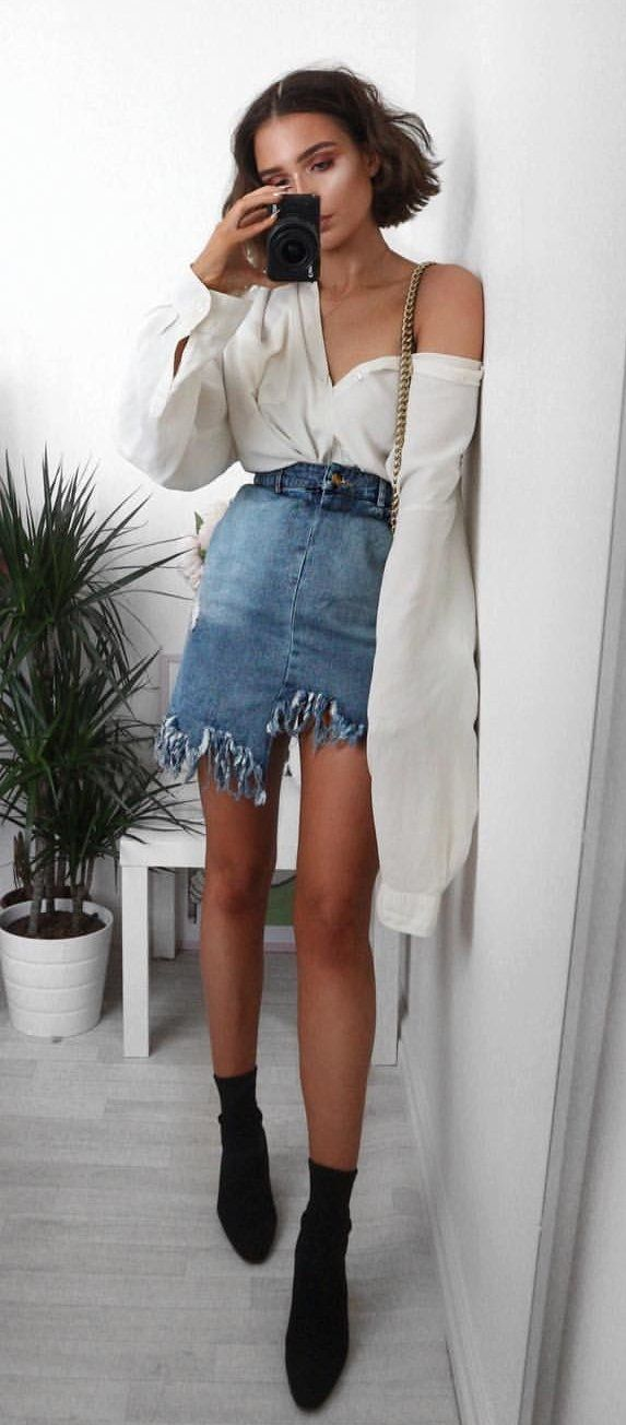 summer outfits White Shirt + Denim Skirt