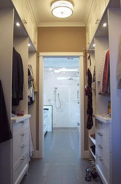 Walk through closet to bath