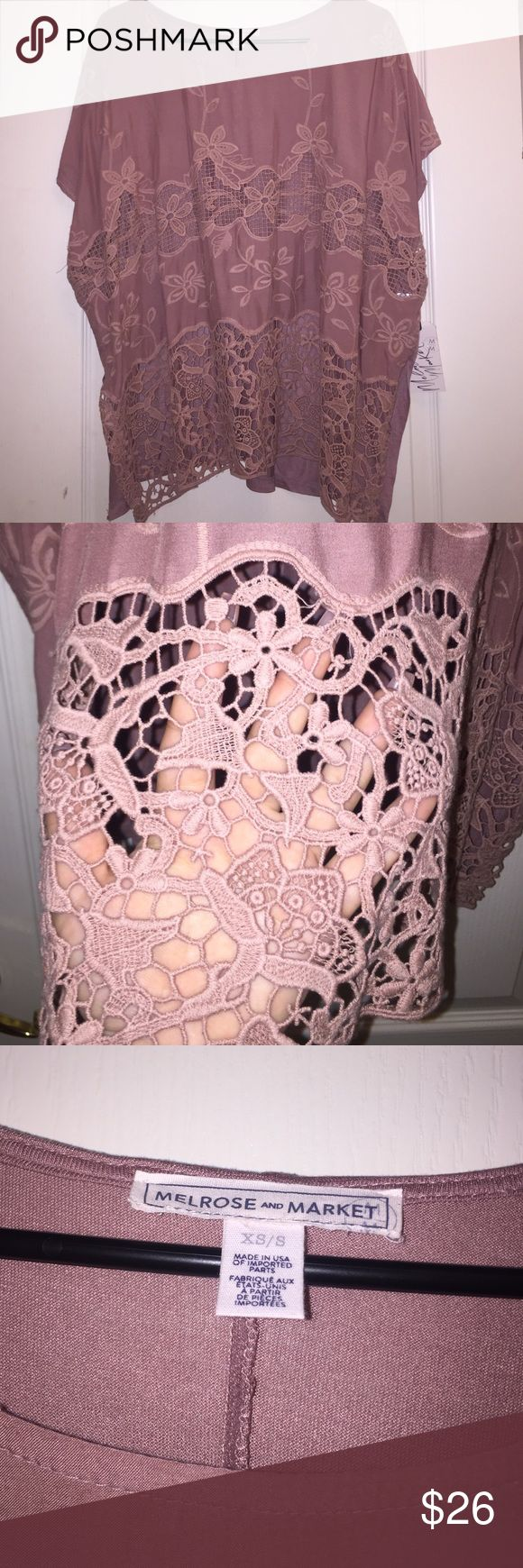 NWT Melrose and Market Pink Lace Top brand new with tag, Melrose and Market dark pinkish lace detail top, the lace parts on the front are see-through but not very noticeable when it's worn, also has small slits on the sides of the top. runs a little big. Melrose and Market  Tops