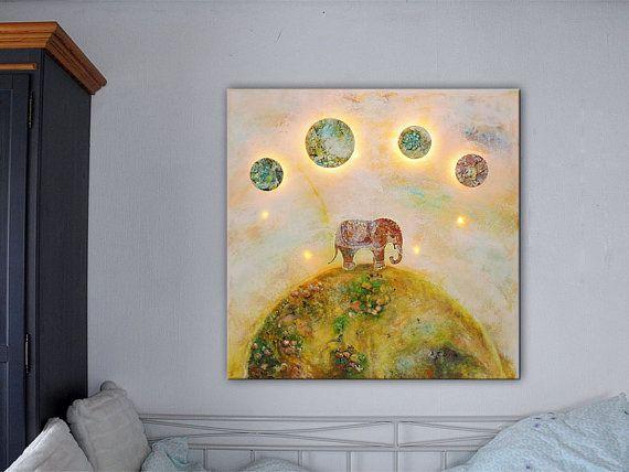 Elefant: Lichtinstallation Lichterkette Acryl auf von Lichtgebilde