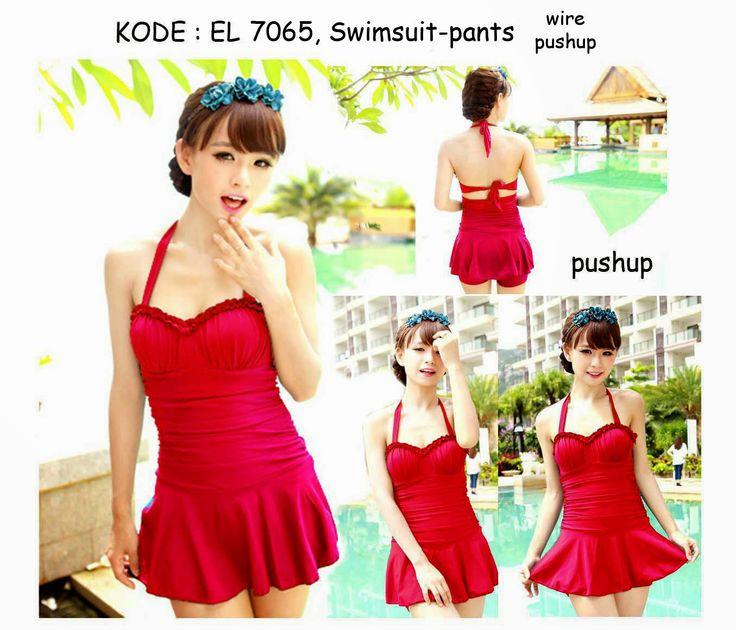 7065-240rb Jual baju renang bawahan celana warna merah baru