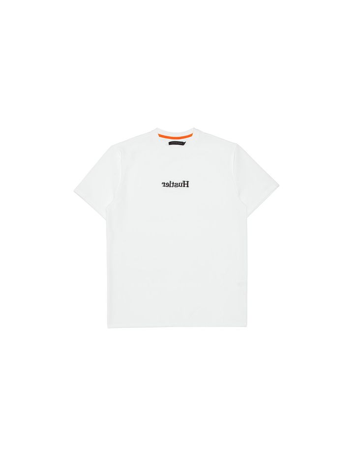 """Hustler T-Shirt (White) / This short sleeve t-shirt features a black 3D """"Hustler"""" embroidery in mirror image. #fw17"""